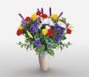Jozi Jazz-Blue,Lavender,Mixed,Red,White,Yellow,Carnation,Chrysanthemum,Mixed Flower,Rose,Arrangement
