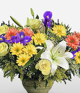 Kaapse Klopse-Blue,Mixed,Orange,White,Yellow,Chrysanthemum,Lily,Mixed Flower,Rose,Arrangement