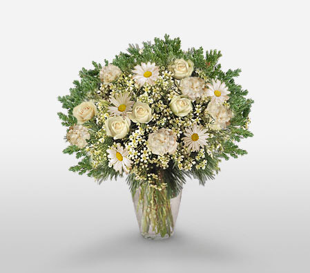 Natures Valley-Green,White,Carnation,Chrysanthemum,Rose,Arrangement
