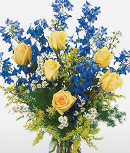 Beautiful Gift-Blue,Yellow,Mixed Flower,Rose,Arrangement