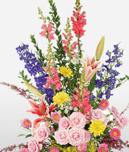 Garden Party-Blue,Mixed,Pink,Yellow,Gerbera,Lily,Mixed Flower,Rose,Arrangement,Basket