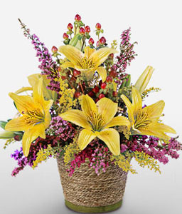 Sunny Blooms-Pink,Yellow,Lily,Mixed Flower,Arrangement