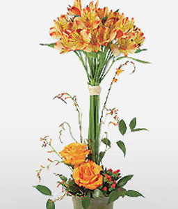 Purely Spectacular-Orange,Mixed Flower,Rose,Arrangement