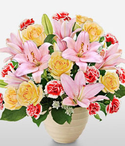 Sweet Expressions-Mixed,Pink,Red,Yellow,Carnation,Lily,Mixed Flower,Rose,Arrangement