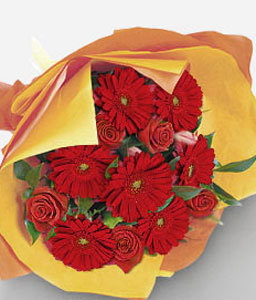 Collins Street-Red,Tulip,Rose,Mixed Flower,Gerbera,Bouquet