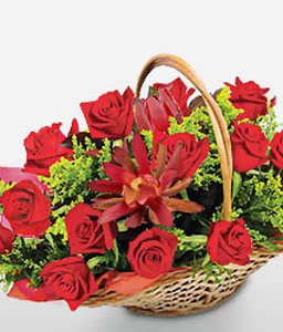 Rosy Indulgence-Red,Rose,Basket