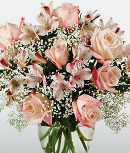Paradise Island-Pink,Alstroemeria,Mixed Flower,Rose,Arrangement