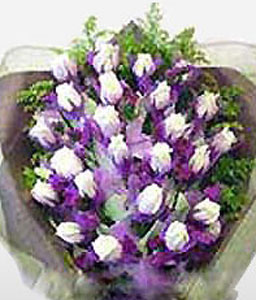 18 White Roses-Purple,White,Rose,Bouquet