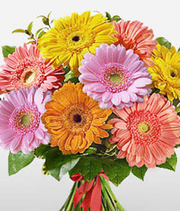 Summer Mix-Mixed,Orange,Peach,Pink,Yellow,Daisy,Gerbera,Bouquet