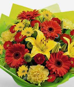 Freshness-Green,Mixed,Red,Yellow,Chrysanthemum,Daisy,Gerbera,Lily,Mixed Flower,Bouquet