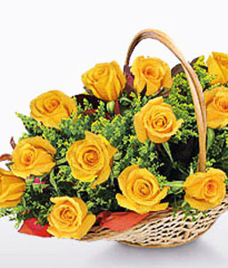 Sunlight-Yellow,Rose,Arrangement,Basket