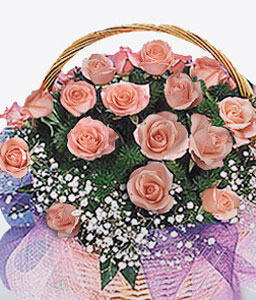 Eef Enchantment-Pink,Rose,Arrangement,Basket
