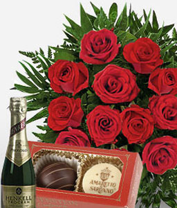 Berlin Philharmonic-Green,Red,Chocolate,Rose,Wine,Bouquet,Hamper