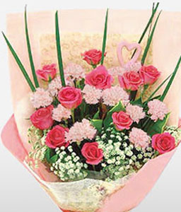 Spectacular Shanghai Pink Roses & Carnations-Pink,Red,Carnation,Rose,Bouquet