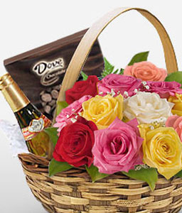 Grand Gourmet-Mixed,Chocolate,Rose,Basket
