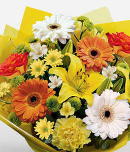Matthiola Bouquet-Orange,Peach,White,Yellow,Daisy,Gerbera,Lily,Mixed Flower,Rose,Bouquet