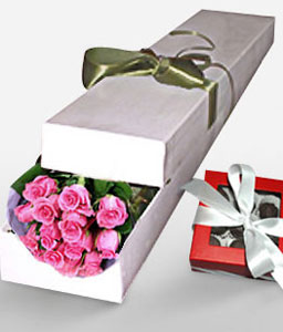 Romantic Notions-Pink,Chocolate,Rose,Bouquet