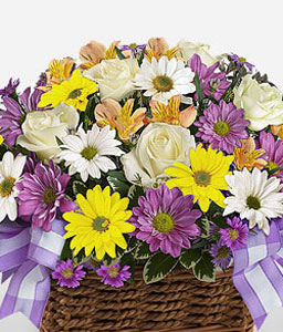 Summer Rush-Lavender,Purple,Violet,White,Yellow,Chrysanthemum,Daisy,Rose,Arrangement,Basket