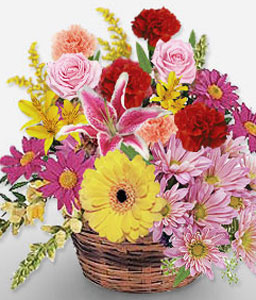 Basket Of Charms - Mixed Flowers Basket-Mixed,Pink,Red,Yellow,Gerbera,Lily,Mixed Flower,Rose,Arrangement,Basket