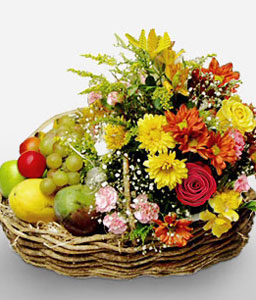 Flower & Fruit Gift Basket-Fruit,Basket,Hamper
