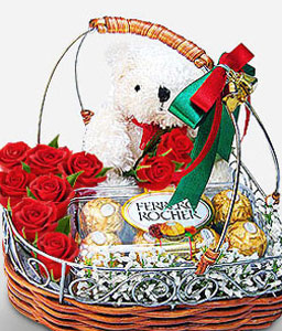 Valentines Gift - Red Roses, Teddy and Chocolates-Red,Chocolate,Rose,Teddy,Basket,Hamper