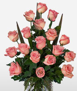 Strawberry Crush - 18 Pink Roses in Vase-Pink,Rose,Arrangement
