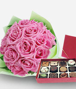 Regal Hearts-Pink,Chocolate,Rose,Bouquet