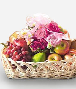 Natures Glory-Pink,Rose,Fruit,Basket,Bouquet