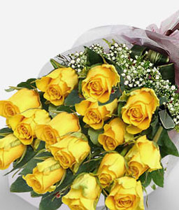 Sunsplash - 18 Yellow Roses-Yellow,Rose,Bouquet