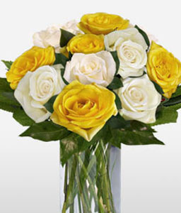 Kaleidoscope-White,Yellow,Rose,Arrangement