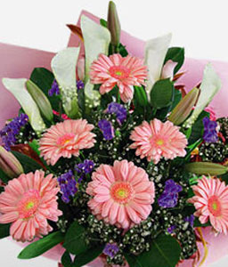 Elegant Geberas & Lilies-Peach,White,Daisy,Gerbera,Lily,Bouquet