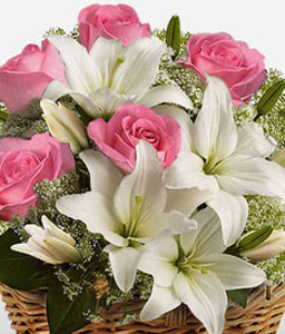 Sentimental Surprise-Pink,White,Lily,Rose,Basket