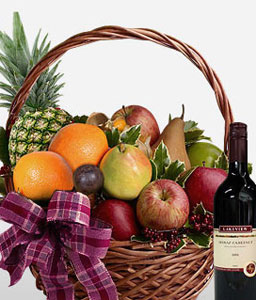Bountiful Harvest-Fruit,Wine,Basket,Hamper