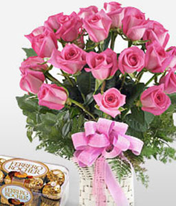 Pink Lady-Pink,Chocolate,Rose,Bouquet