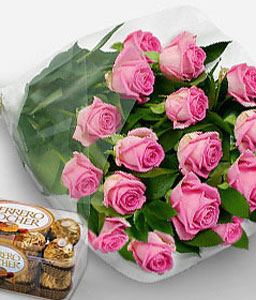 Pink Sapphire-Pink,Chocolate,Rose,Bouquet,Hamper