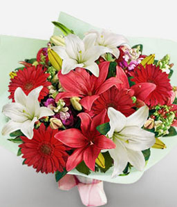 Blooming Bounty-Red,White,Daisy,Gerbera,Lily,Mixed Flower,Bouquet