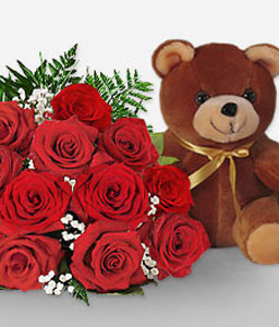 Roses And Teddy-Red,Rose,Teddy,Bouquet