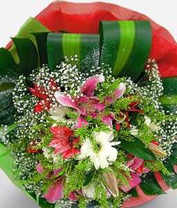 Sparkler-Green,Pink,White,Daisy,Gerbera,Lily,Bouquet