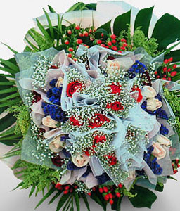Carnival Of Color-Blue,Green,Mixed,Red,Yellow,Mixed Flower,Rose,Bouquet