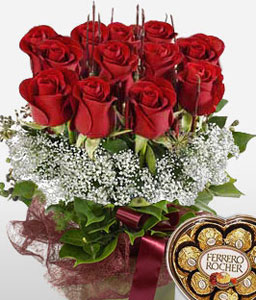 Blooming Love-Red,Rose,Chocolate,Arrangement,Hamper