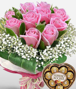 Love Affair-Pink,Chocolate,Rose,Arrangement,Hamper