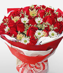 Simply Elegant-Red,White,Chrysanthemum,Rose,Bouquet