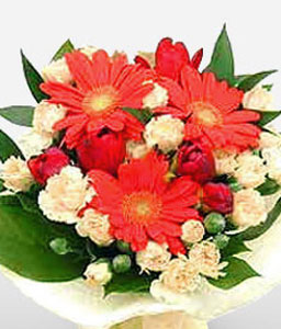 Charmer - Gerberas and Roses Bouquet-Green,Orange,Daisy,Gerbera,Rose,Bouquet