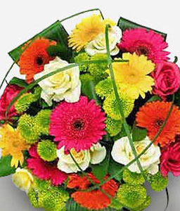 Confetti-Mixed,Red,Yellow,Daisy,Gerbera,Mixed Flower,Rose,Bouquet
