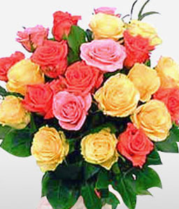 Warm Evenings <Br><Font Color=Red>Mixed Colored Roses</Font>