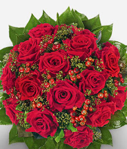 Juliet - Red Roses Bouquet-Green,Red,Rose,Bouquet