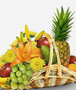 Fruits And Flowers-Gourmet,Fruit,Basket