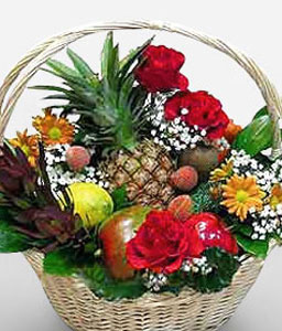 Gift Basket-Red,Fruit,Gourmet,Basket