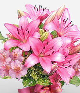 Hummingbird Charms-Pink,Alstroemeria,Lily,Bouquet