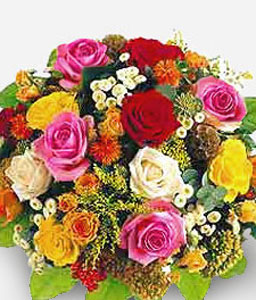 Mosaic Renaissance-Mixed,Orange,Pink,Red,Yellow,Chrysanthemum,Rose,Bouquet
